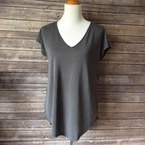 Maurices V-Neck Wide Hemmed Cap Sleeve Shirt